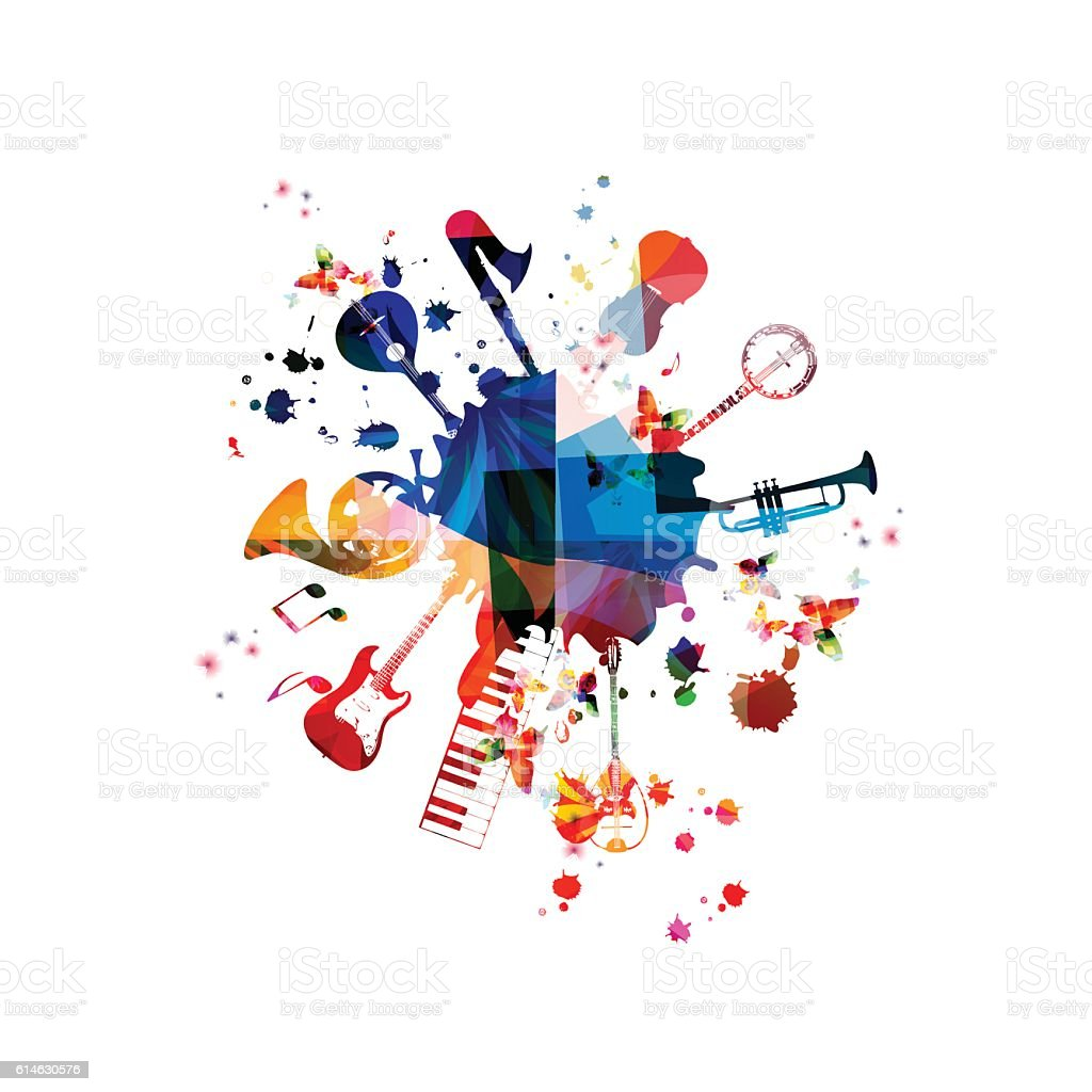 Music template vector illustration, music instruments background - ilustración de arte vectorial