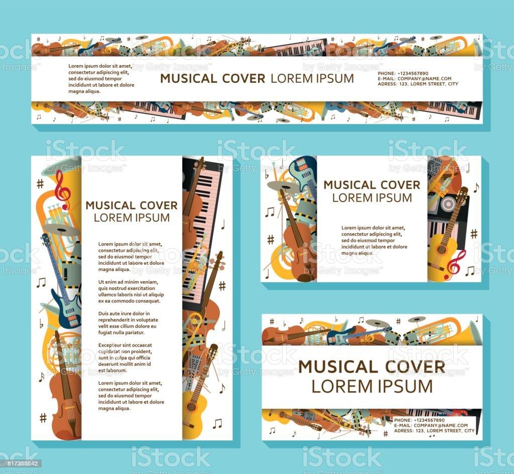 Ilustración de Música Plantillas Y Banners De Diferentes ...