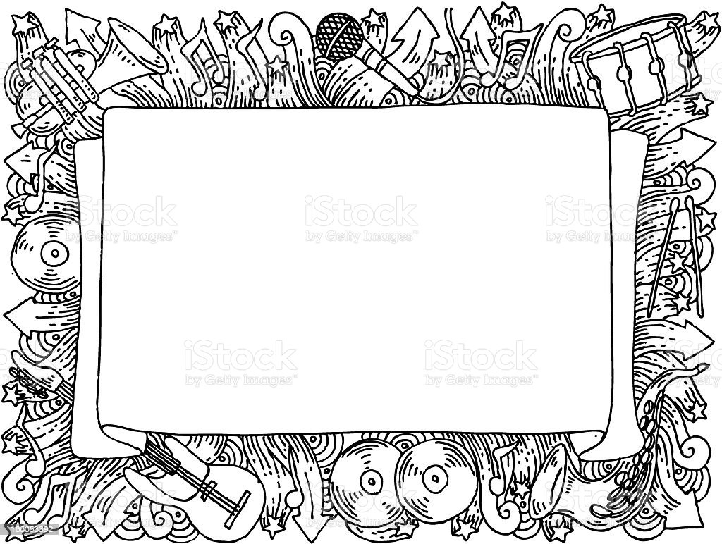 Music themed doodle banner royalty-free stock vector art