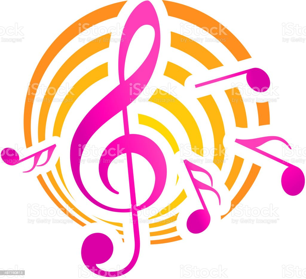 Music themed motif in yellow and pink vector art illustration