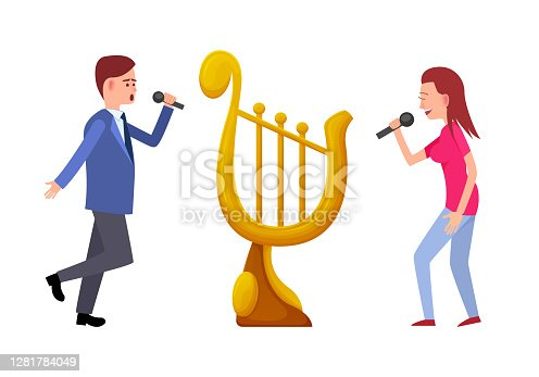 istock Music Tournament, Singers with Gold Trophy Harp 1281784049