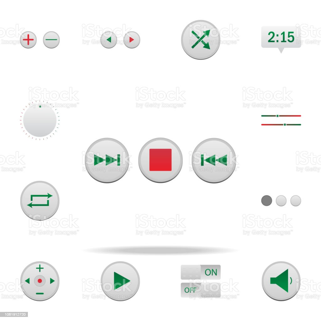 Music Track Control Button Colored Icon Elements Of Music