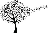 music tree with treble clefs and flying musical notes, vector illustration