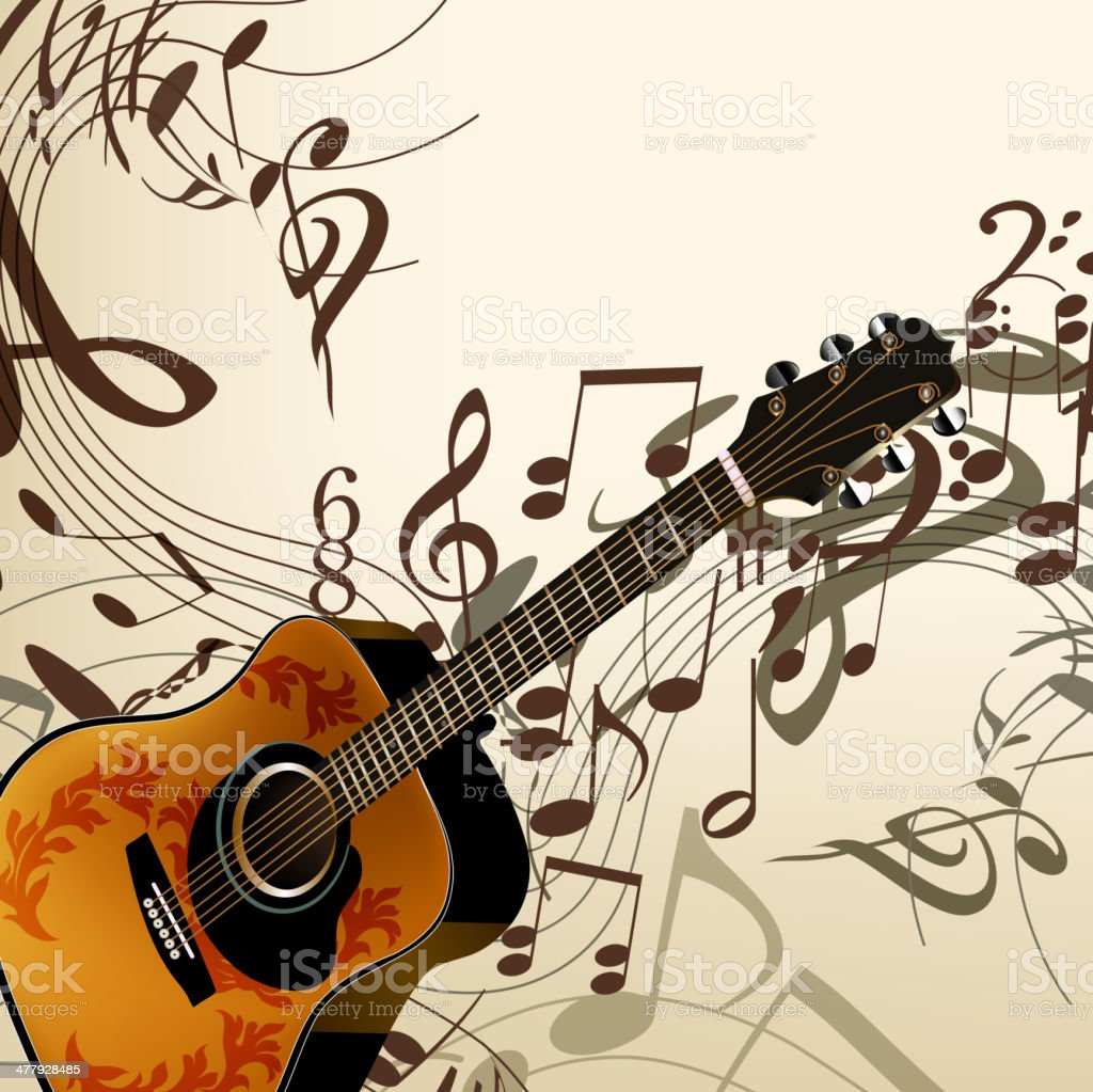 Music vector background with guitar and notes royalty-free music vector background with guitar and notes stock vector art & more images of art