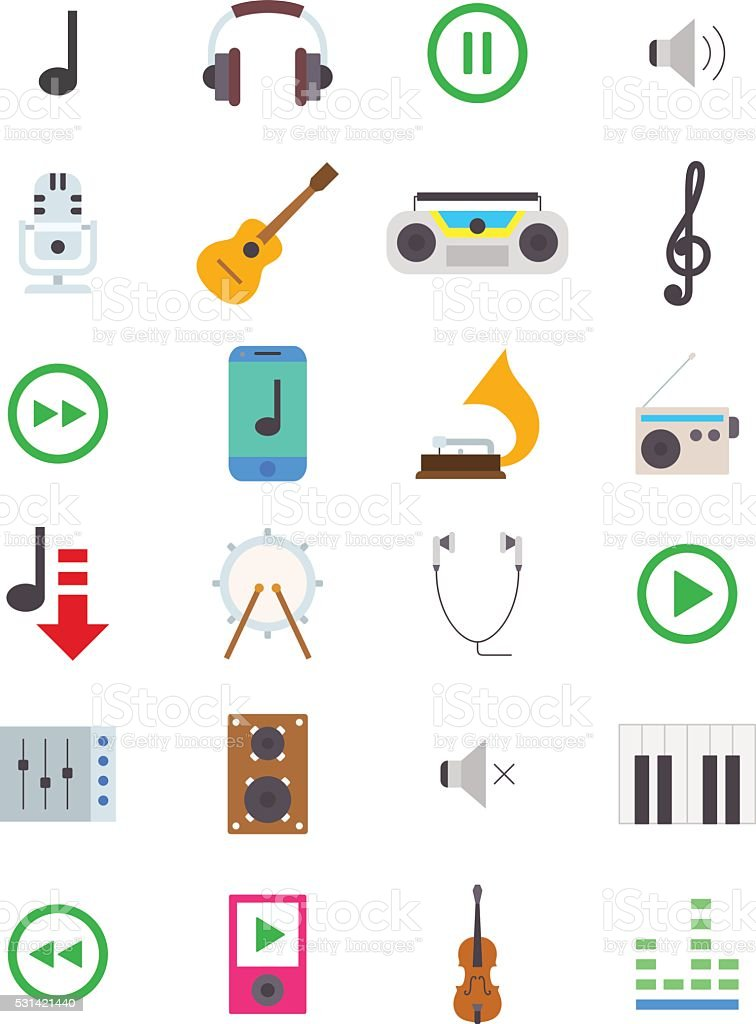 Music vector icons set vector art illustration