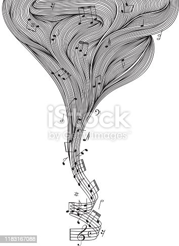 The art of sheet music. A twisted staff bifurcating into a beautiful wavy cloud of lines, full of musical notes and other symbols.
