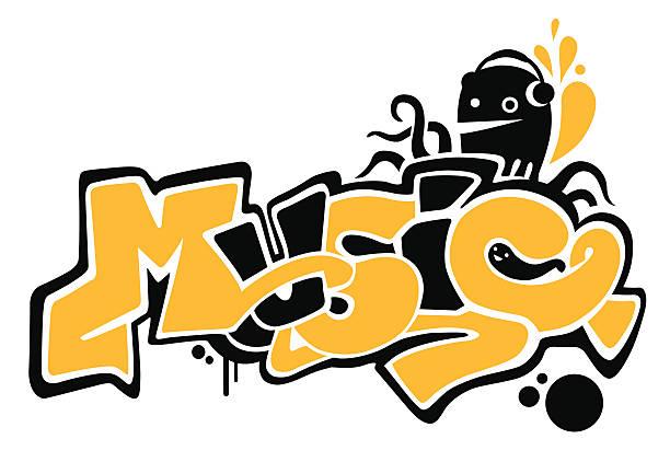 - musik - graffiti schriftarten stock-grafiken, -clipart, -cartoons und -symbole