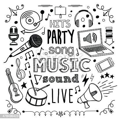 Music themed (doodle) hand-drawn illustration.