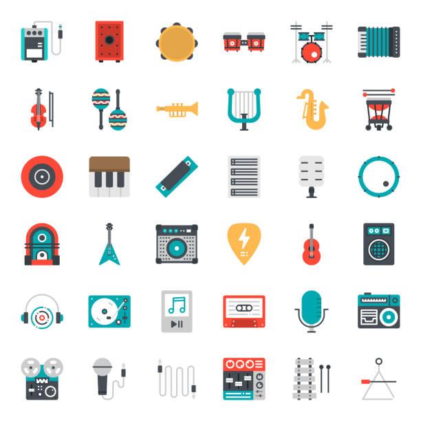 ilustrações, clipart, desenhos animados e ícones de música de - ícones de música