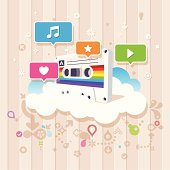 Complex vector illustration of music. A retro cassette drawn in perspective on a cloud with music related icons.