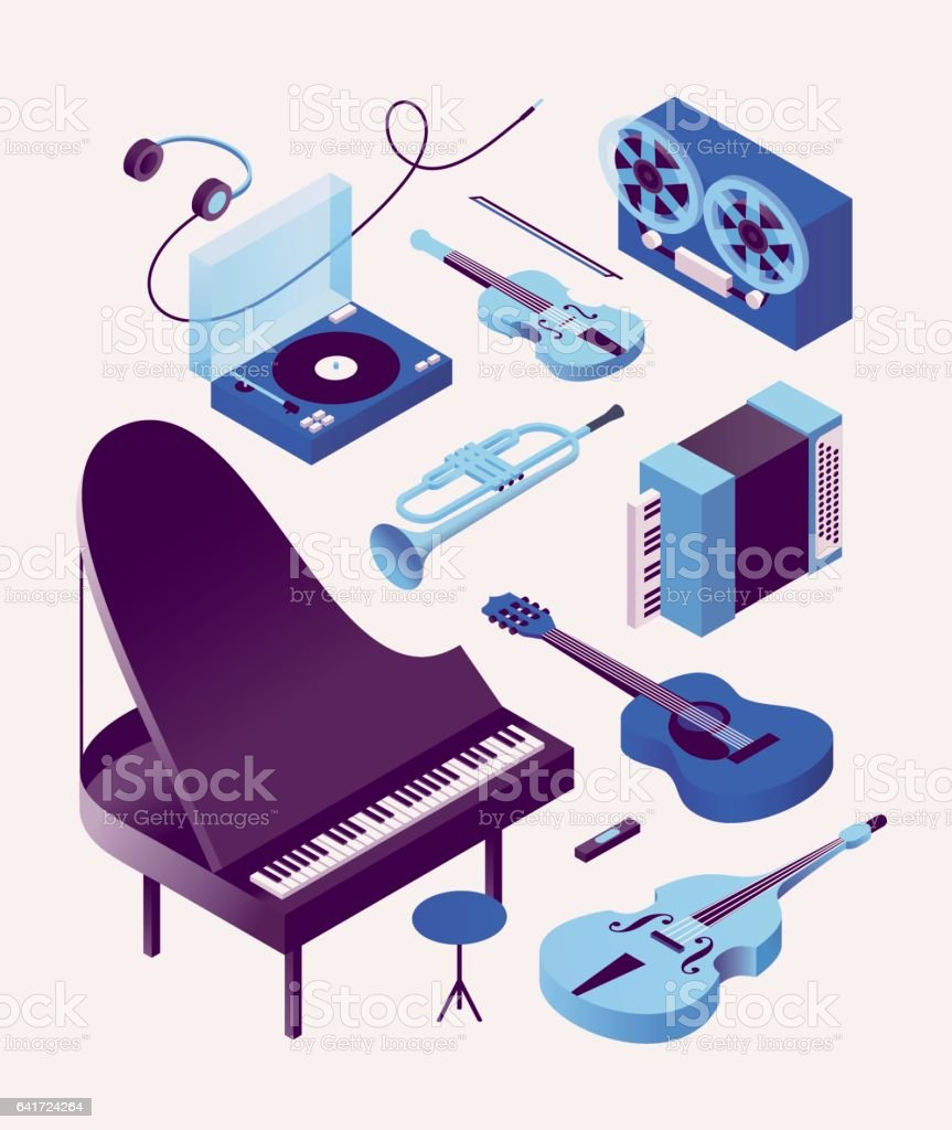 Music, vector isometric illustration, 3d icon set, white background. Piano, bass, guitar, accordion, trumpet, violin, turntable, headphones
