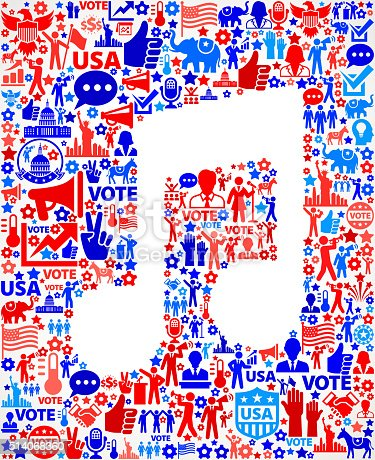 istock Music Vote and Elections USA Patriotic Icon Pattern 514068360
