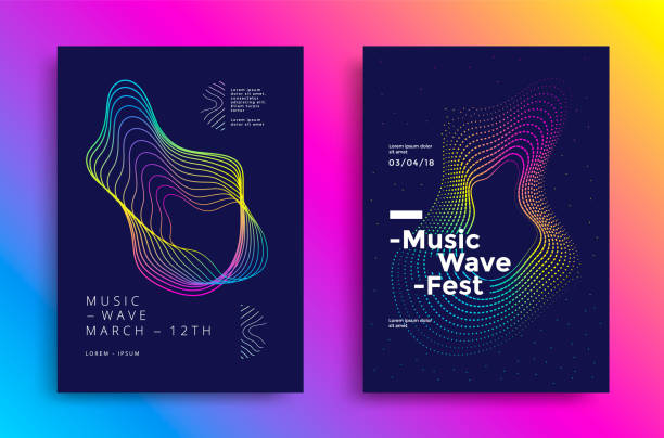 Music wave poster Music wave poster design. Sound flyer with abstract gradient line waves. electro music stock illustrations