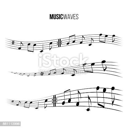 Music wave set. Vector music design elements.
