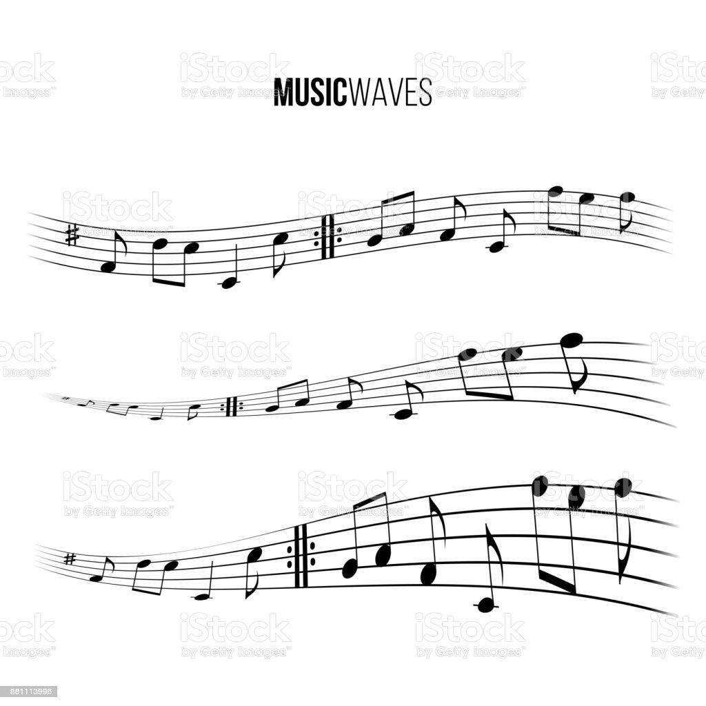 Music wave set. Vector music design elements. vector art illustration