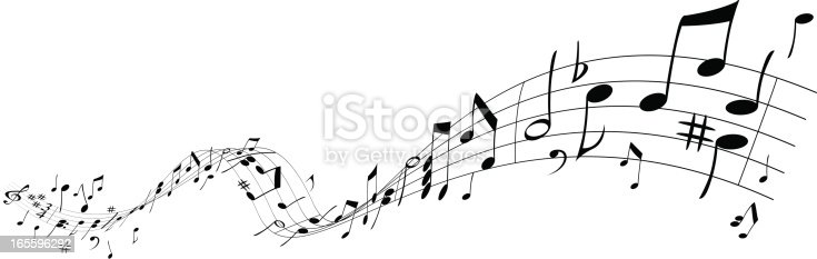 Music notations on a wave, objects are in two layers, all elements are manually drawn.