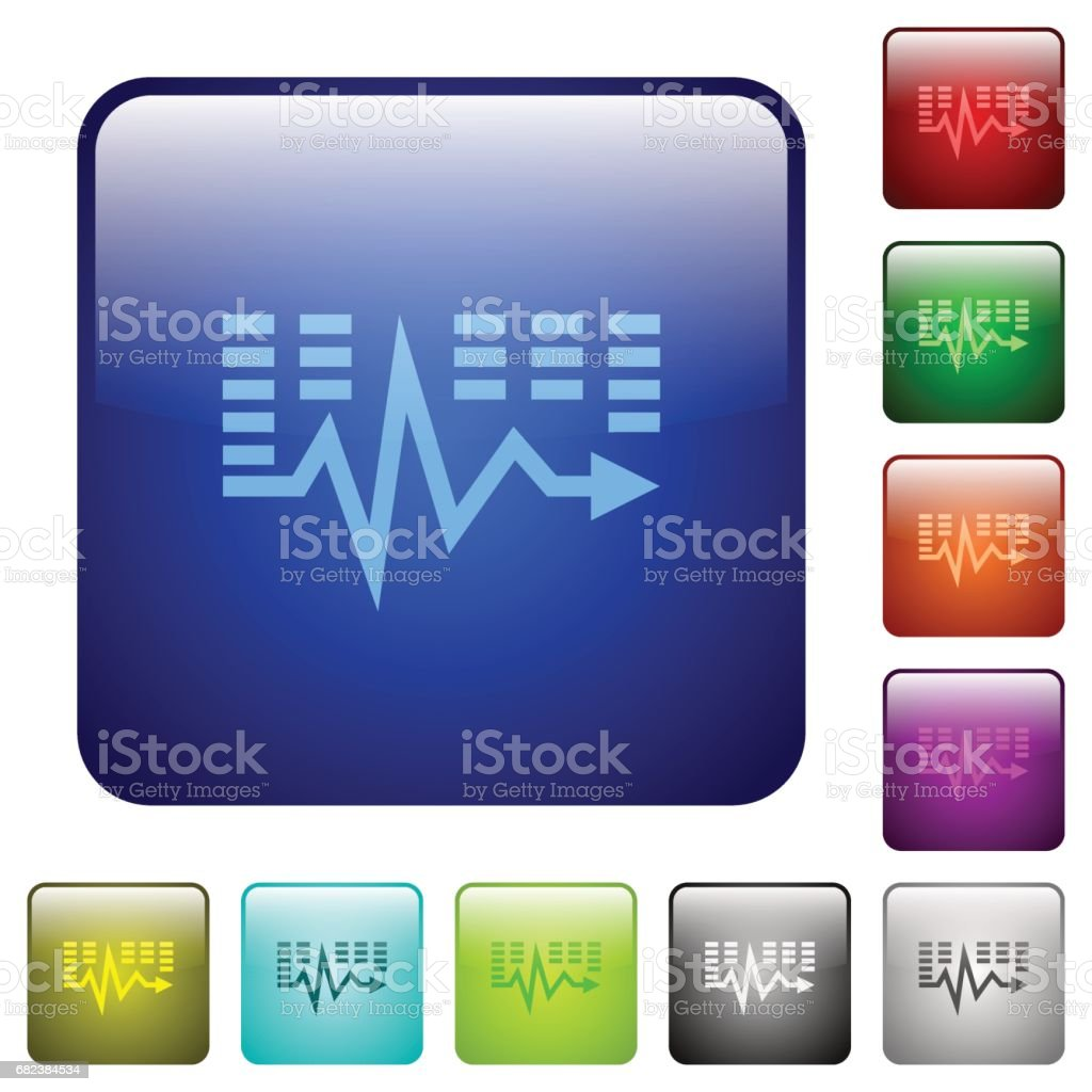 Music waves color square buttons music waves color square buttons – cliparts vectoriels et plus d'images de appliquer libre de droits