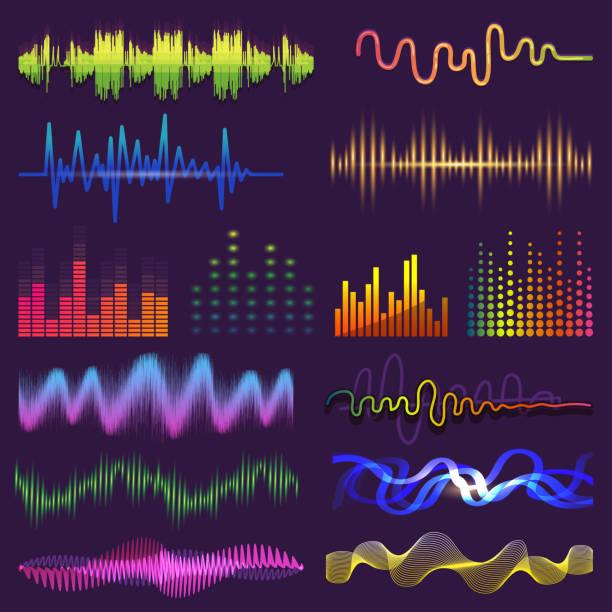 musik schallwellen auf radio vektor klingende audio-wellenform und wellenlänge der soundtrack und gewellten stimme mit soundwave volumen isoliert abbildung - sound wave grafiken stock-grafiken, -clipart, -cartoons und -symbole