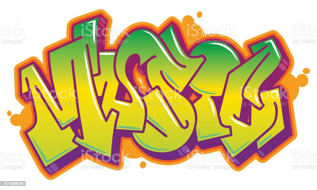 Music word in graffiti style vector art illustration