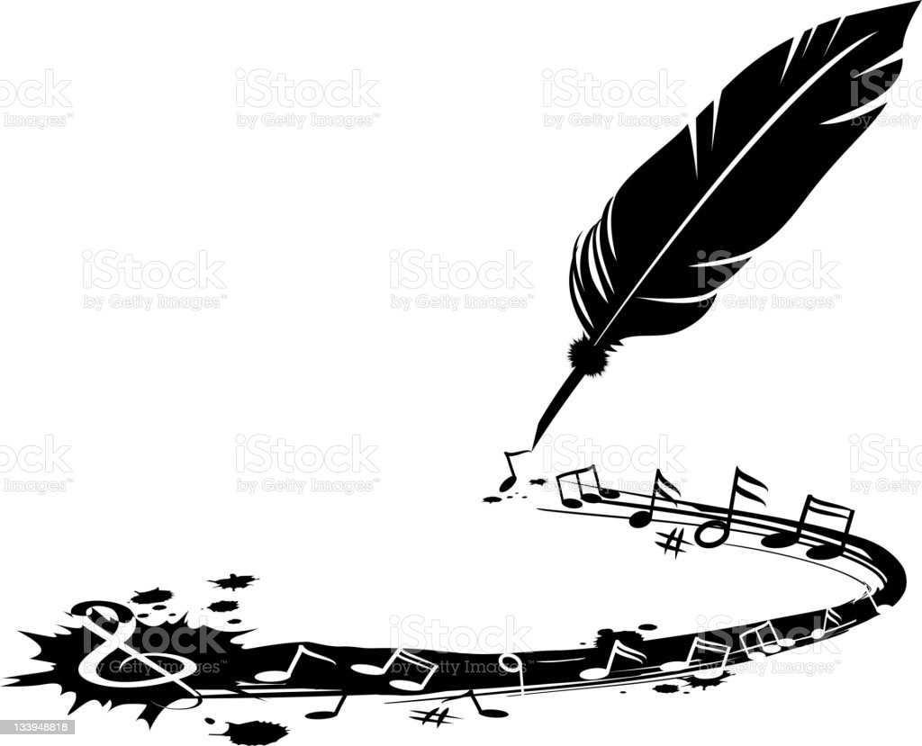 Music Writing Concept Vector illustration of a guill pen and musical notes. high resolution jpg file included. Bristle - Animal Part stock vector