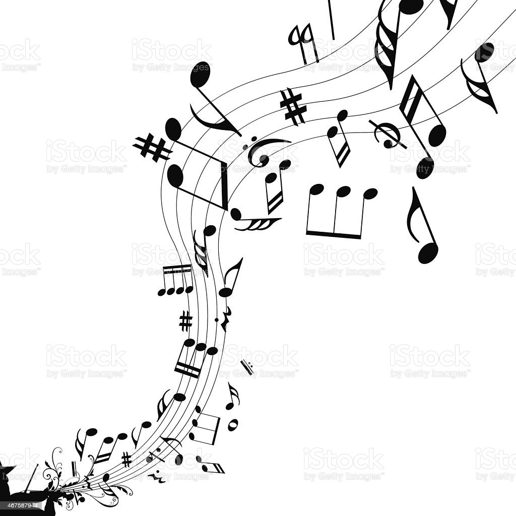 Musical abstract background vector art illustration