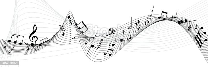 Musical abstract background with notes for design