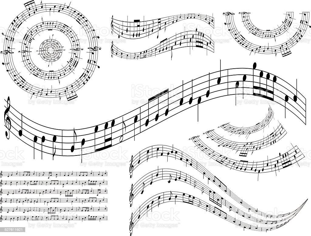 musical abstract design elements - vector set vector art illustration