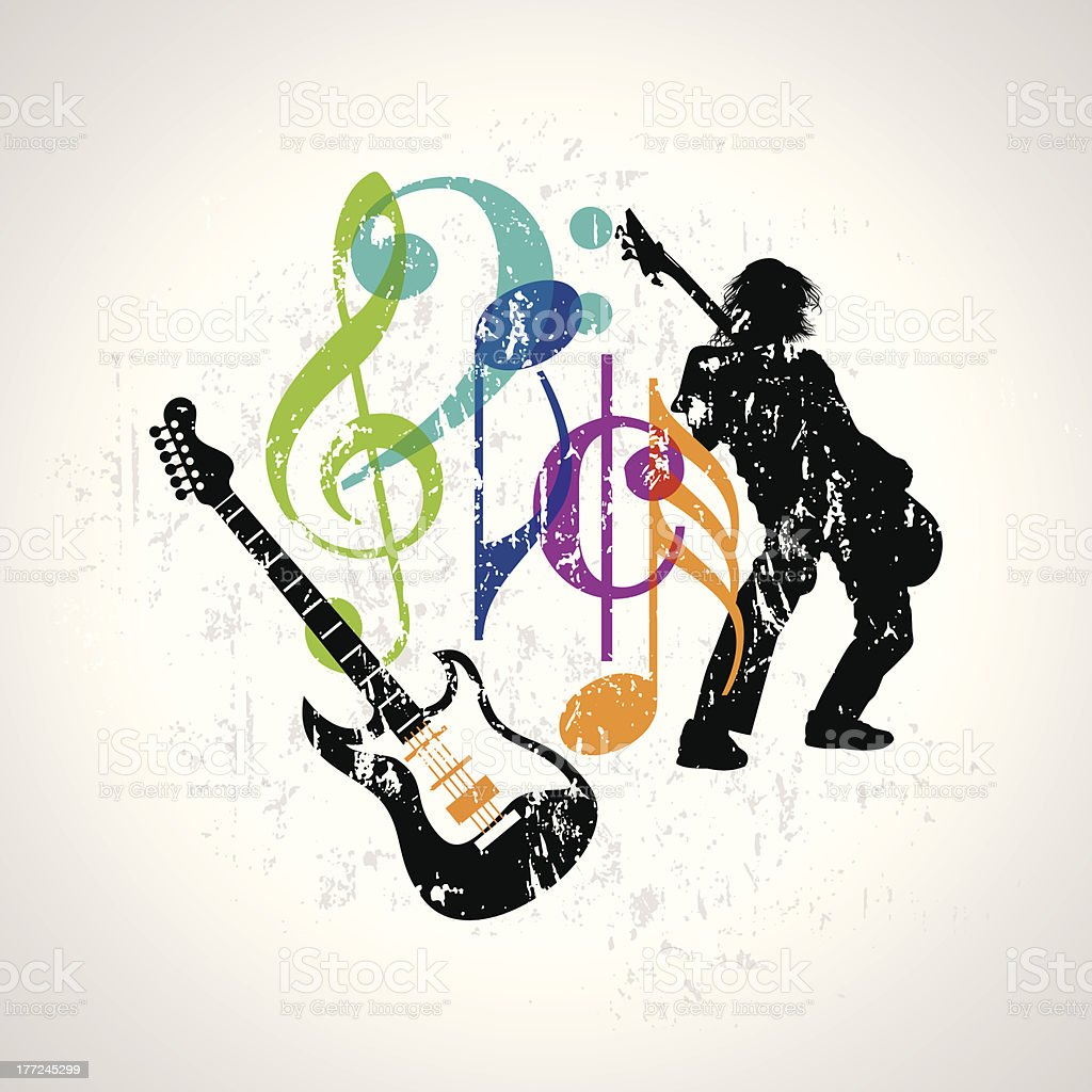Musical background featuring a guitar vector art illustration