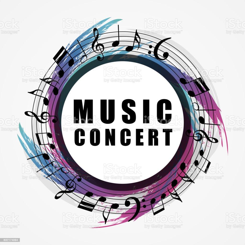 Musical background. Music style round shape frame vector art illustration