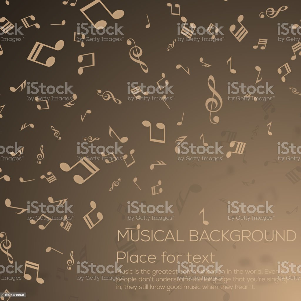 Musical background with musical notes for your design. Vector