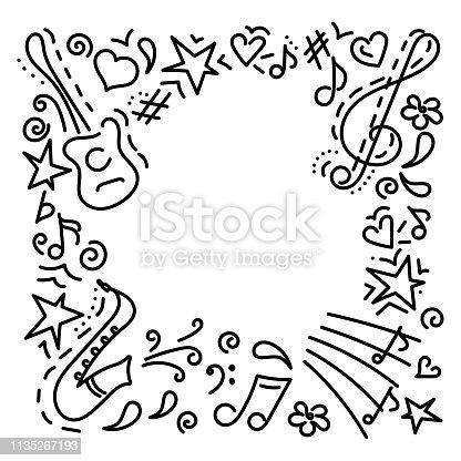 Musical background.hand drawn. Music symbols .