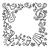 Musical background.hand drawn. Music symbols . Doodle style. Vector