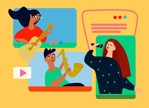 Musical band making online performance using video conferencing platform. Vector illustration in flat style