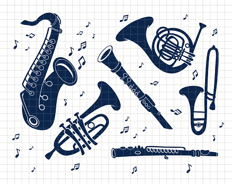 Musical brass Instruments collection. Jazz gold objects set. Silhouette vector flat illustration. Cutting file. Suitable for cutting software. Cricut, Silhouette