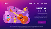 Happy kids enjoy singing and playing the guitar at summer camp, tiny people. Musical camp, young music talents, music and song courses concept. Website homepage landing web page template.