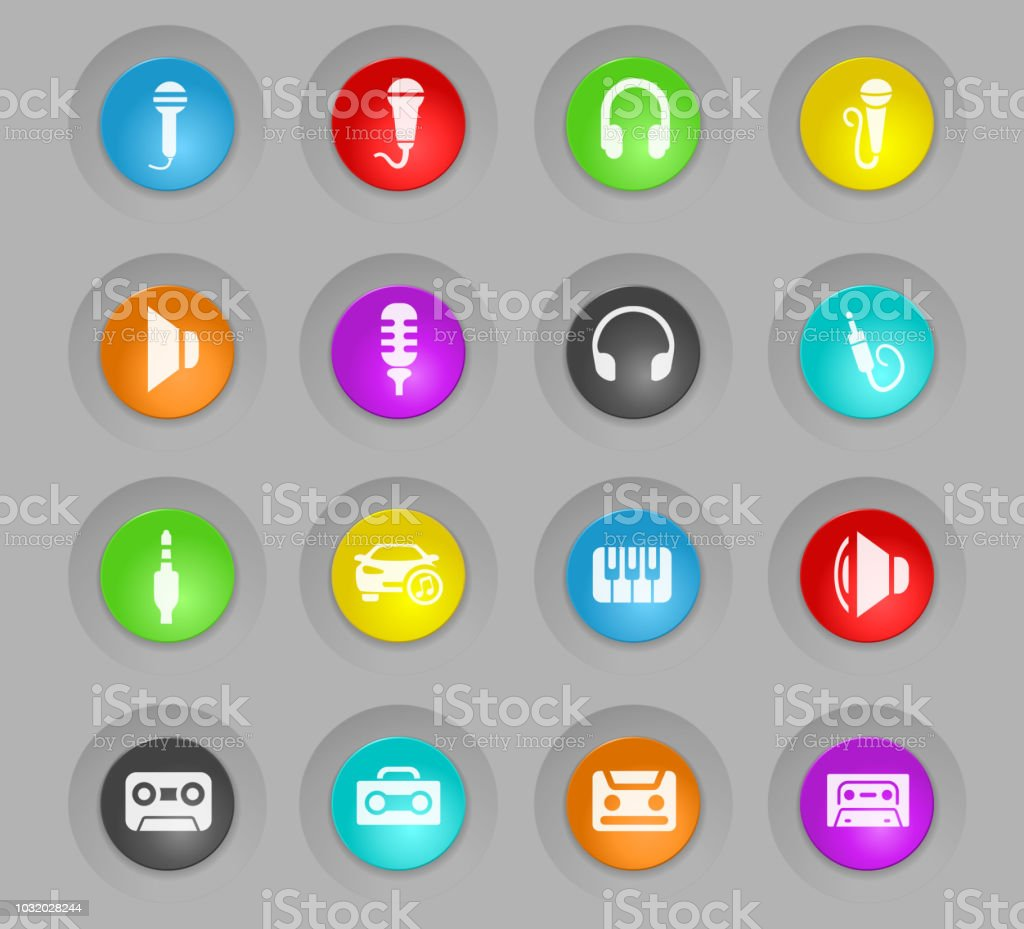 musical colored plastic round buttons icon set vector art illustration