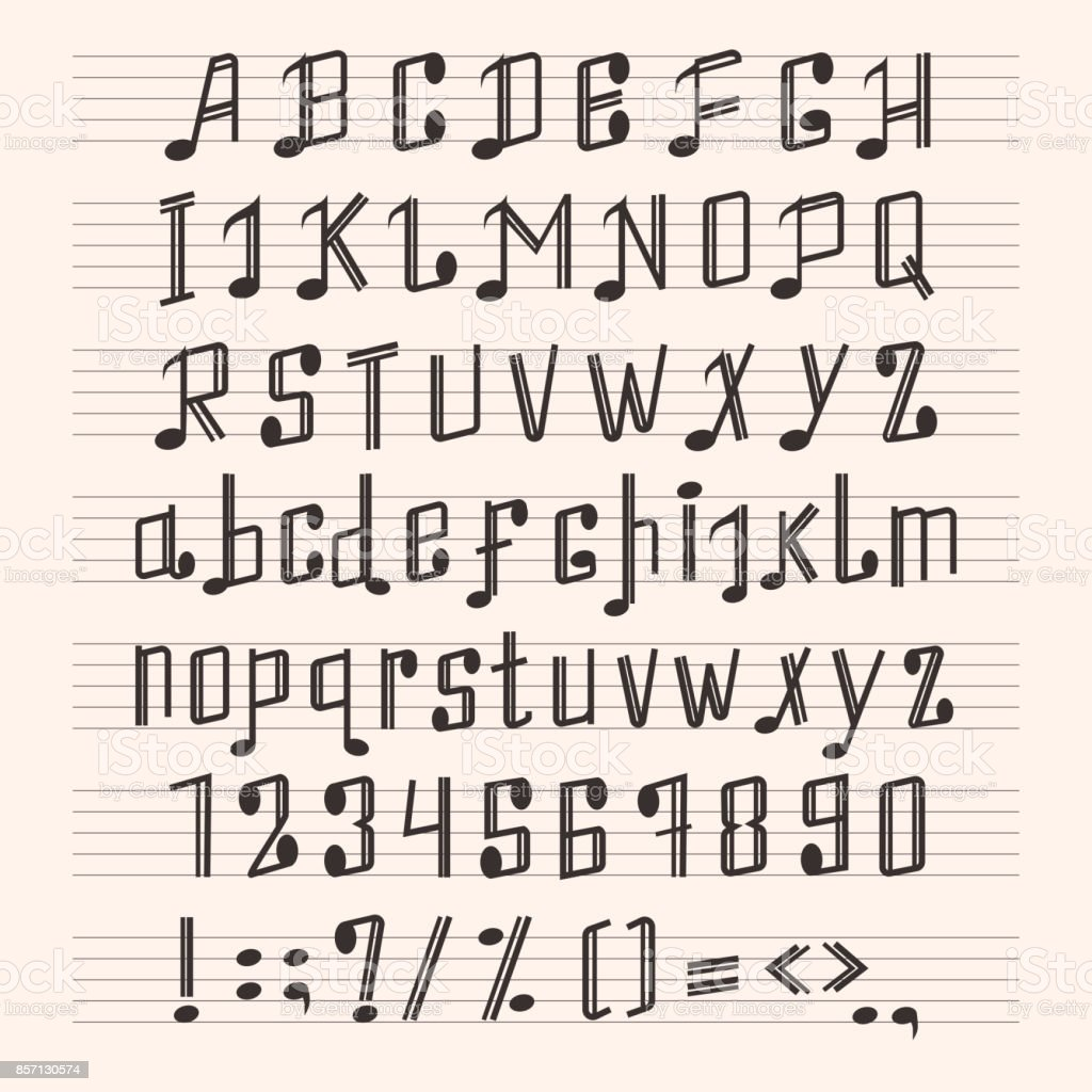 Musical Decorative Notes Alphabet Font Hand Mark Music Score Abc