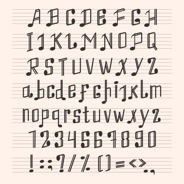 Musical decorative notes alphabet font hand mark music score abc typography glyph paper book vector illustration vector art illustration