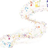 Musical Design Elements From Music Staff With Treble Clef And Notes in gradient transparent  Colors. Elegant Creative Design With Shadows and Isolated on White. Vector Illustration.