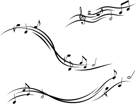 Musical design with lines and notes