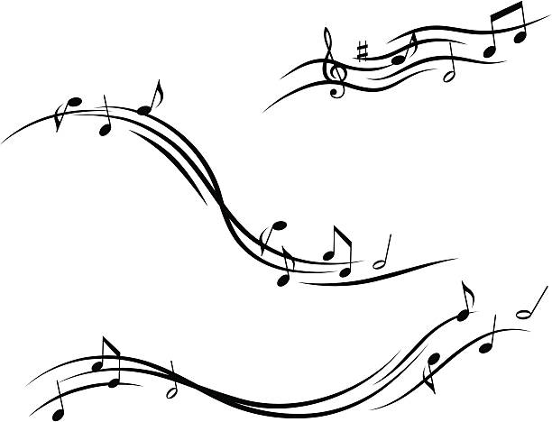 Musical design with lines and notes vector art illustration