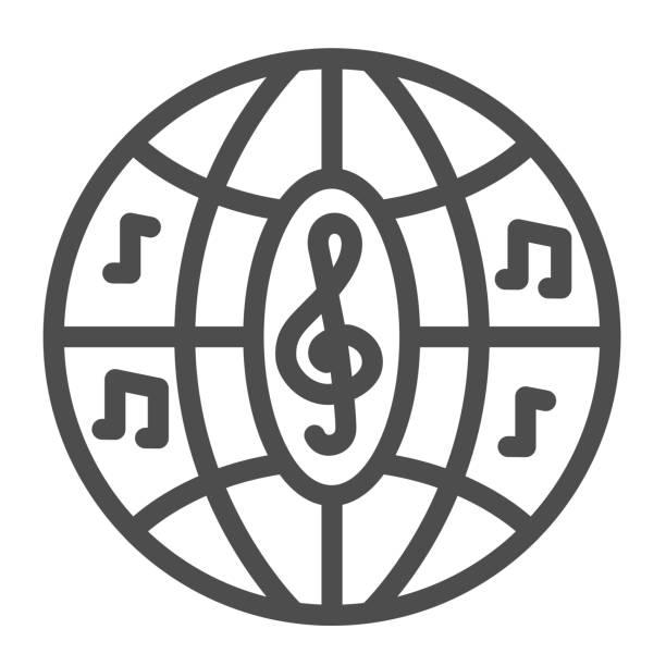 illustrations, cliparts, dessins animés et icônes de icône de ligne de boule de disco musicale, concept de festival de musique, signe disco de boîte de nuit de sphère sur le fond blanc, boule de partie avec l'icône de notes dans le modèle de contour pour mobile, conception web. graphiques vectoriels. - abstract mirror