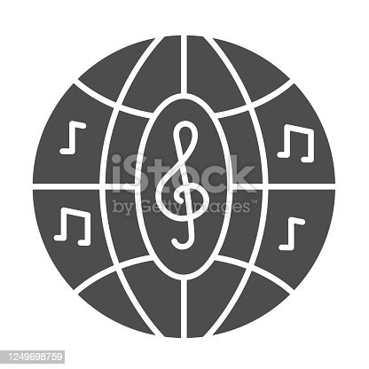 istock Musical disco ball solid icon, Music festival concept, Night clubs disco sphere sign on white background, party ball with notes icon in glyph style for mobile, web design. Vector graphics. 1249698759