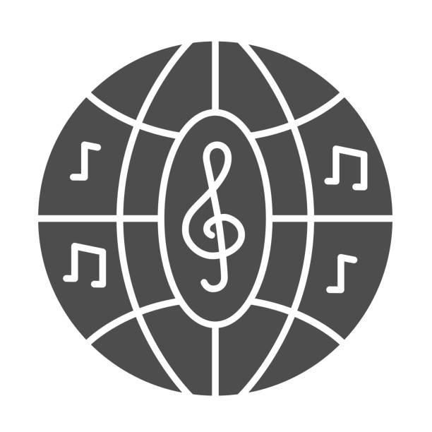 illustrations, cliparts, dessins animés et icônes de icône solide de boule de disco musicale, concept de festival de musique, signe disco de boîte de nuit sur fond blanc, boule de partie avec l'icône de notes dans le modèle de glyphe pour mobile, conception web. graphiques vectoriels. - abstract mirror