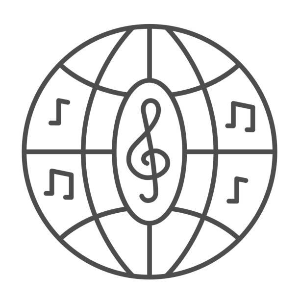 illustrations, cliparts, dessins animés et icônes de icône de la ligne mince de boule de disco musicale, concept de festival de musique, signe disco de boîte de nuit sur fond blanc, boule de partie avec l'icône de notes dans le modèle de contour pour mobile, conception web. graphiques vectoriels. - abstract mirror