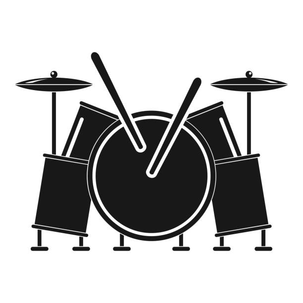 musical drums icon, simple style - talerz perkusyjny stock illustrations