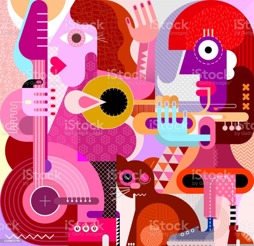 Musical Duet and Brown Cat vector illustration vector art illustration