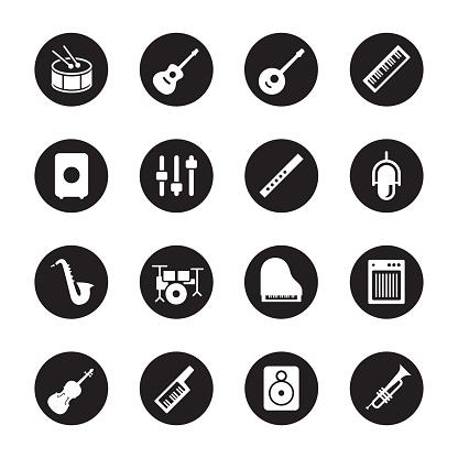 Musical Equipment Icons - Black Circle Series