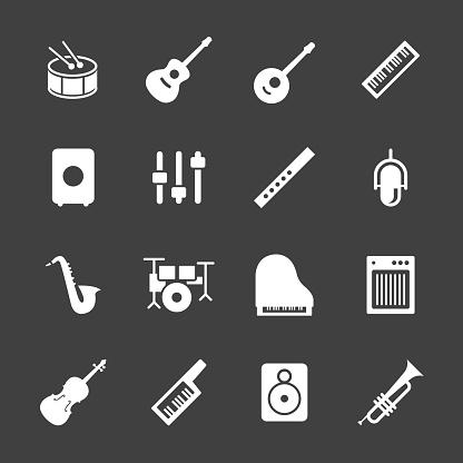 Musical Equipment Icons - White Series