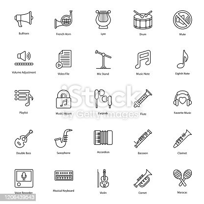 Mouth organ musical instruments line icons set available for instant download. Easy to use a compact set of musical instruments in your reach. Grab now these editable quality pack!